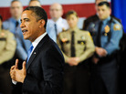 President Obama speaks about his gun control agenda before law enforcement officials in Minneapolis on Monday. The president was doing what his aides say he didn't do often enough in his first term: getting outside of Washington to build public support for legislation.
