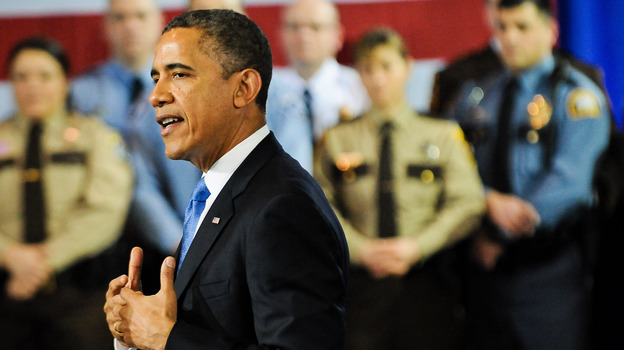 President Obama speaks about his gun control agenda before law enforcement officials in Minneapolis on Monday. The president was doing what his aides say he didn't do often enough in his first term: getting outside of Washington to build public support for legislation. (Getty Images)