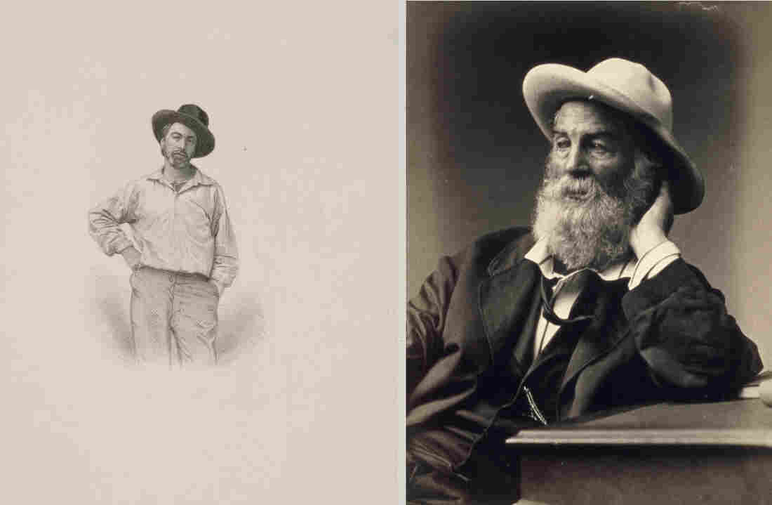 "A 1854 engraving by Samuel Hollyer and an 1872 photograph by G. Frank E. Pearsall show Walt Whitman in his trademark cocked hat. ""I wear my hat as I please indoors or out,"" he wrote in ""Song of Myself."""