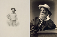 A 1854 engraving by Samuel Hollyer and an 1872 photograph by G. Frank E. Pearsall show Walt Whitman in his trademark cocked hat.