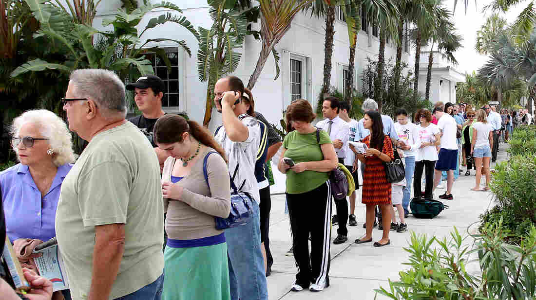 People wait to vote on Election Day in November at the Surfside Town Hall in Miami.