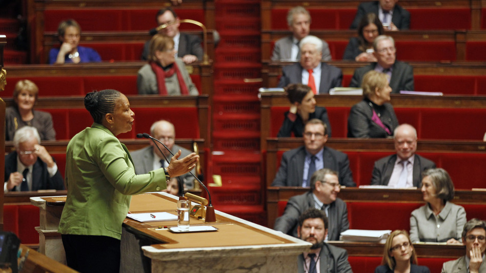 French Justice Minister Christiane Taubira speaks to the French National Assembly on Jan. 29, the first day of debate on the government project to legalize same-sex marriage and adoption for same-sex couples. (AP)