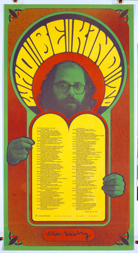 Allen Ginsberg by Robert Wesley Wilson, after Larry Keenan, Jr. Publisher: Cranium Press Offset lithographic poster, 1967.