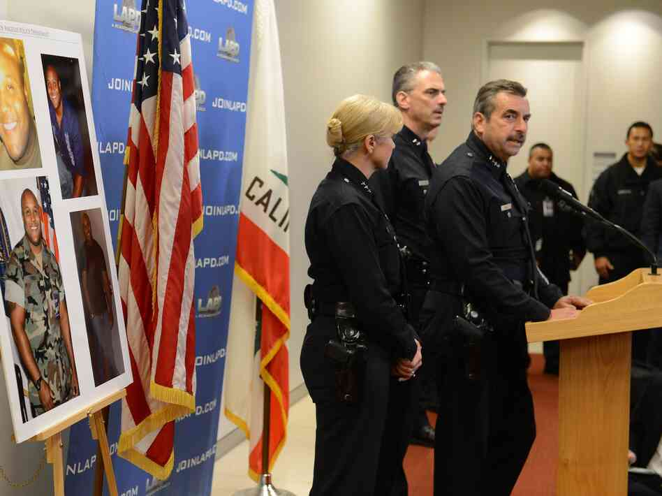 Los Angeles Police Chief Charlie Beck speaks at a press conference on the manhunt for Christopher Dorner.
