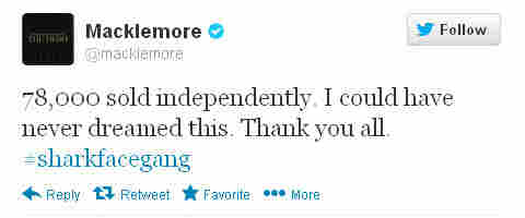 After their album went to No. 1 on iTunes, Macklemore sent out the following tweet.