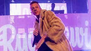 Macklemore of Macklemore and Ryan Lewis performs in Park City, Utah.