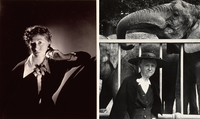 A 1935 photograph of Marianne Moore by George Platt Lynes depicts the young poet as elegant and powerful, while a picture taken almost 20 years later by Esther Bubley reflects Moore's intensifying eccentricity.