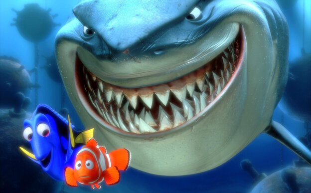 An orange clownfish named Marlin searches for his son in an ocean full of perils in the Disney/Pixar film Finding Nemo.