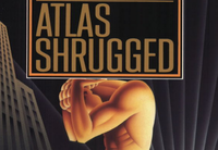 A cover detail from an edition of Ayn Rand's Objectivist classic Atlas Shrugged.