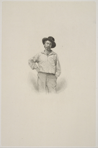 Walt Whitman by Samuel Hollyer, after Gabriel Harrison, stipple engraving, c 1854-55.