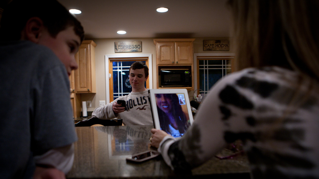 The Jordans use an iPad to talk to their daughter, Kelly, who's at school in Chicago.