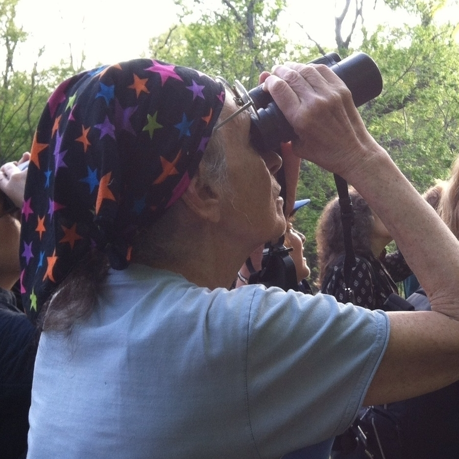 Saphir leads a bird walk in Central Park during spring migration last year.