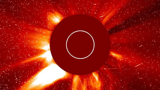 In photo from the Solar and Heliospheric Observatory, a major solar eruption is shown in progress Oct. 29, 2003. A large coronal mass ejection is being hurled toward the Earth. (Getty Images)