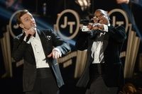 Justin Timberlake and Jay-Z perform at the Grammys.
