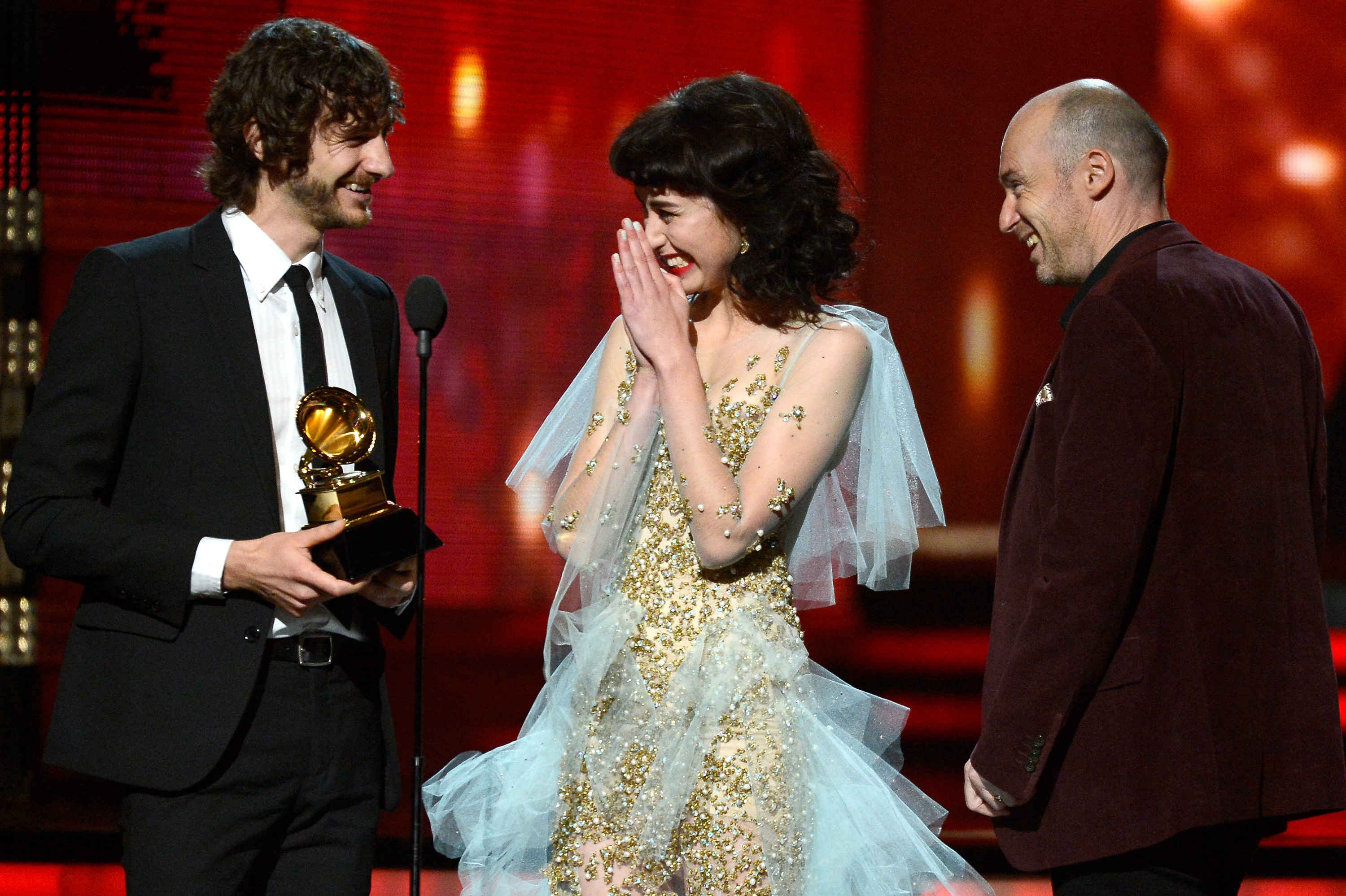 "Musicians Gotye, Kimbra and William Bowden accept the Record of the Year award for ""Somebody That I Used to Know."""
