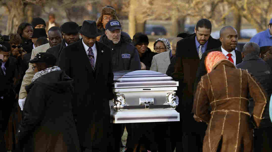 The remains of Hadiya Pendleton are taken to her final resting place at the Cedar Park Cemetery on Saturday in Calumet Park, Ill.