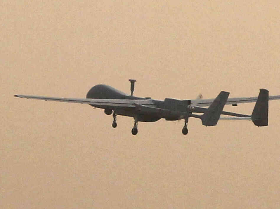 A French military drone takes off in December 2010 from a U.S. airbase in Bagram, Afghanistan.