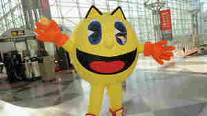 Pac-Man joins opening ceremonies at Toy Fair to celebrate the launch of new Pac-Man Toys from Bandai of America.
