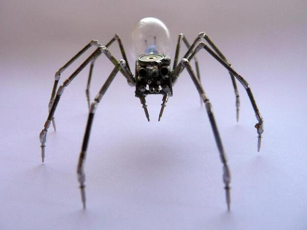 Mechanical spider made from watch parts.