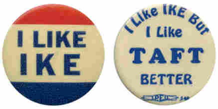 Eisenhower, backed by moderates, defeated the conservative Taft in 1952.