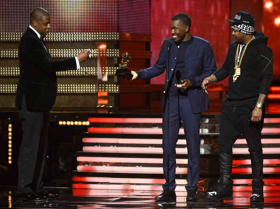 They definitely got this one right: Jay-Z, Frank Ocean and The-Dream accept the Grammy for best rap/sung collaboration.