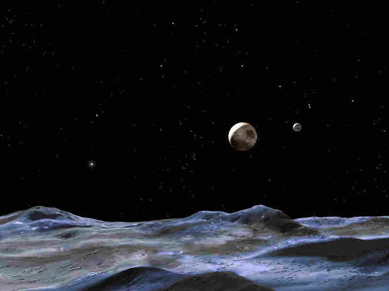 An artist's illustration, which Hubble Site says shows the Pluto system from the surface of one of its moons.