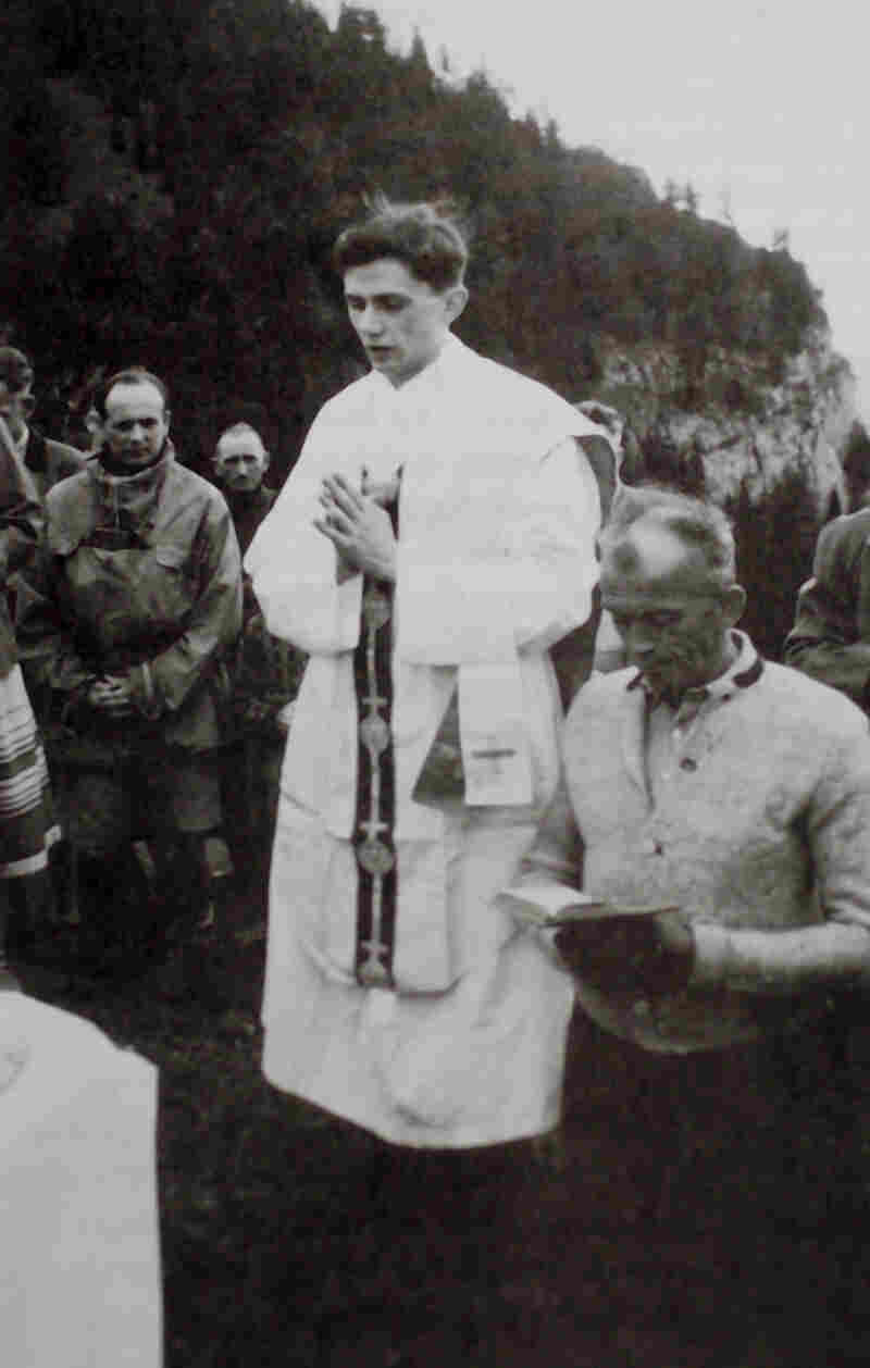 Joseph Ratzinger celebrates Mass in the mountains of Ruhpolding, southern Germany, in 1952, the year after he was ordained.