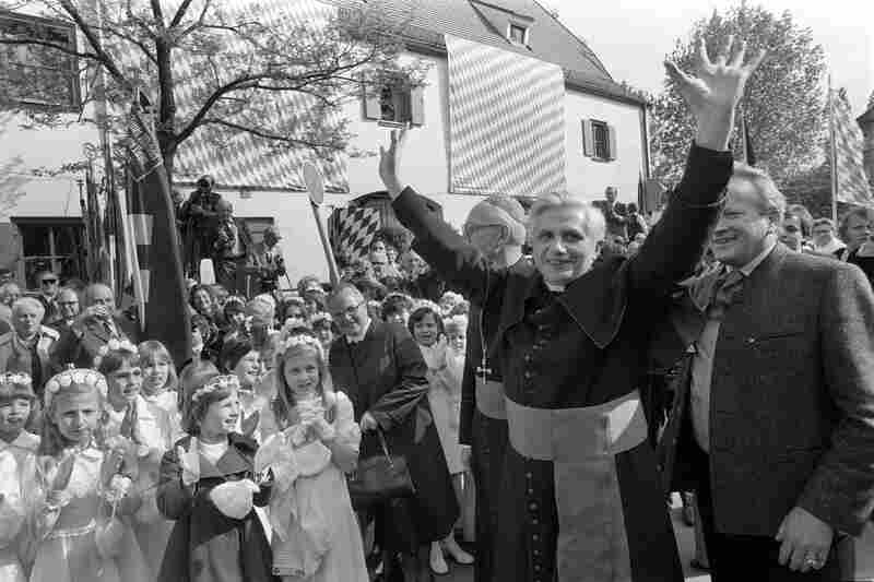 Ratzinger, newly appointed the archbishop of Munich and Freising, greets hundreds of believers as he arrives in Munich, Germany, in May 1977.