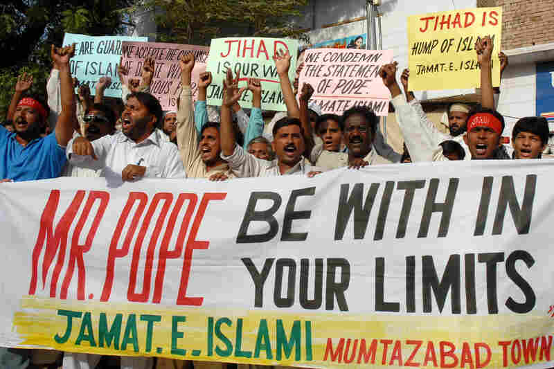 In September 2006, Pakistani Muslims hold a rally in Multan, Pakistan, to protest the pope's controversial comments on Islam. During a speech in Germany, the pontiff had quoted a Byzantine emperor who disparaged Islam.