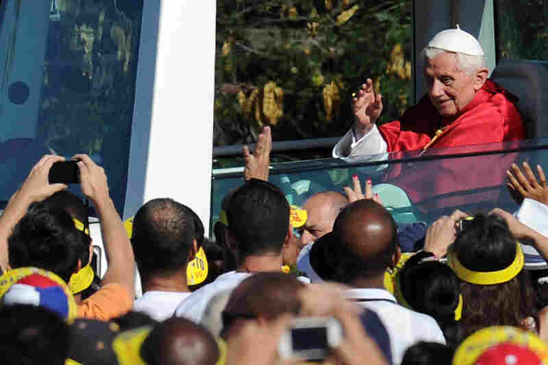Pope Benedict arrives at Revolution Square in Havana, Cuba, in March 2012, to celebrate Mass.