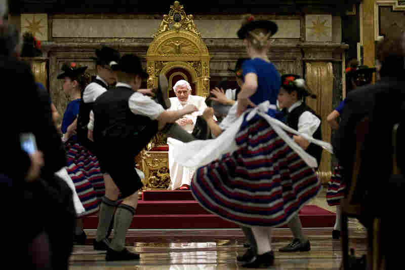 Children dressed in traditional Bavarian costumes dance for the pontiff in April 2012 in Vatican City, during his 85th birthday celebrations.