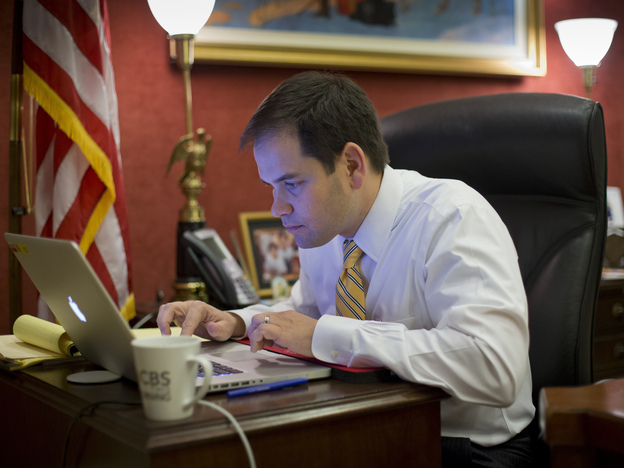 Sen. Marco Rubio works on his laptop fine-tuning his speech in his Capitol Hill office in Washington on Thursday.