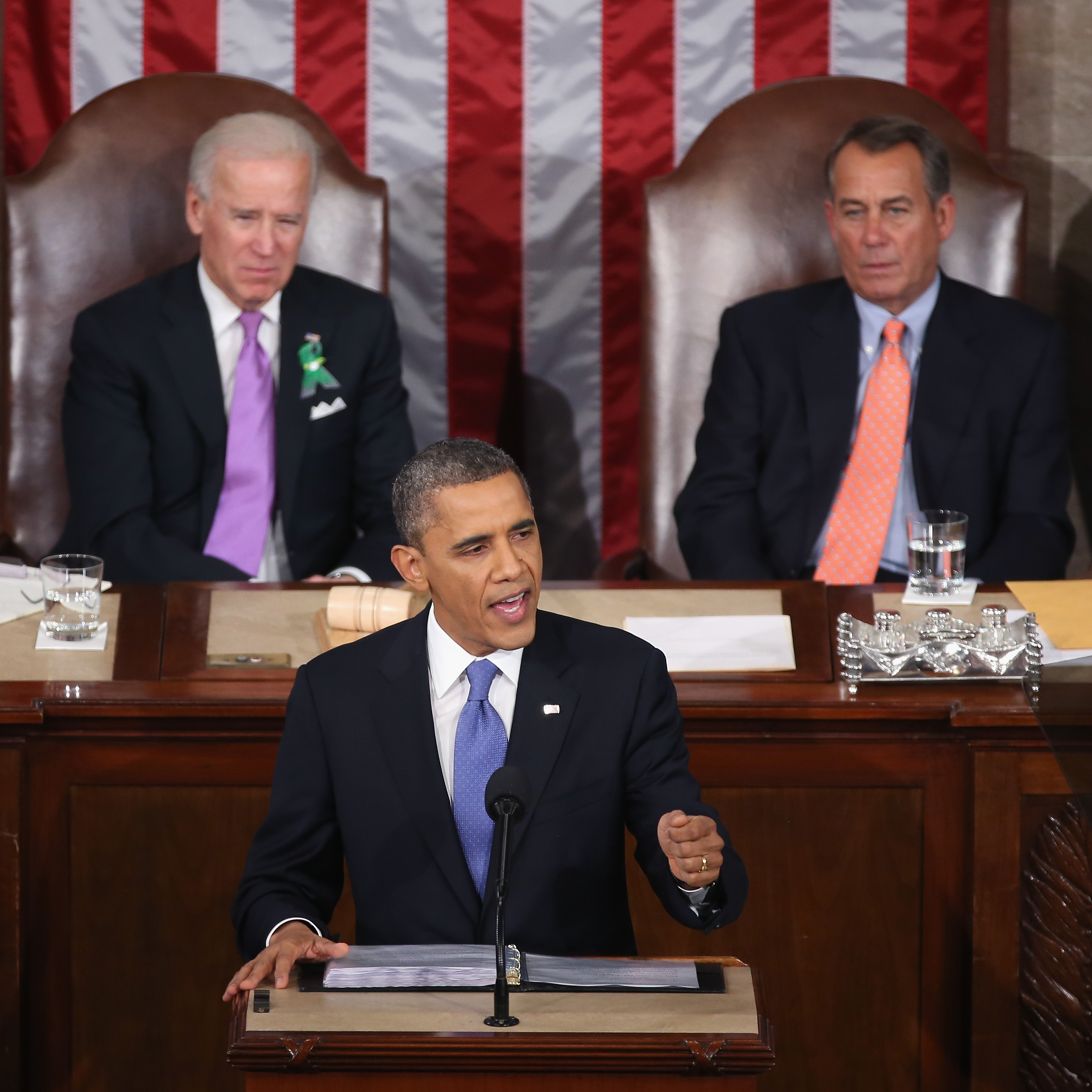 Vice President Biden wore a green ribbon in honor of the Connecticut elementary school shooting victims during President Obama's State of the Union address.