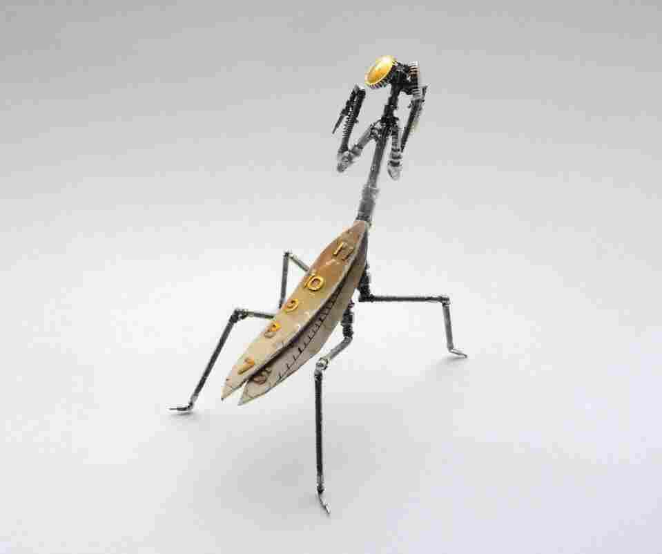 A mechanical praying mantis.