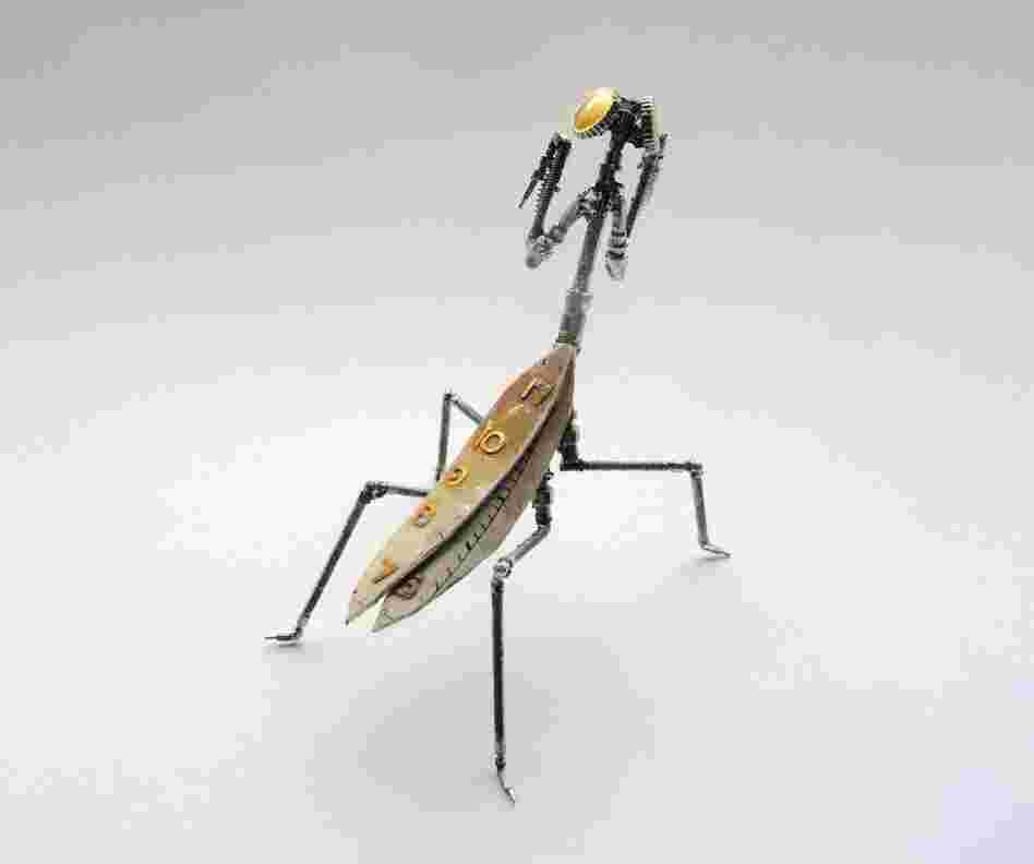 A mechanical praying mantis.