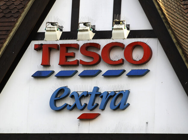 A Tesco supermarket sign in London. The chain acknowledged that its low-cost beef lasagna had in fact been 60 percent horse