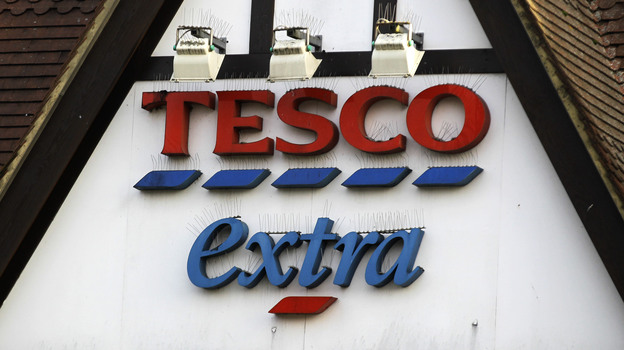 A Tesco supermarket sign in London. The chain acknowledged that its low-cost beef lasagna had in fact been 60 percent horse. (AP)