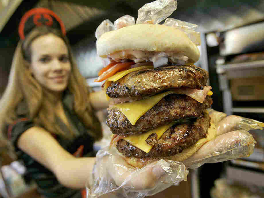 "One of the Heart Attack Grill's ""triple bypass"" burgers."
