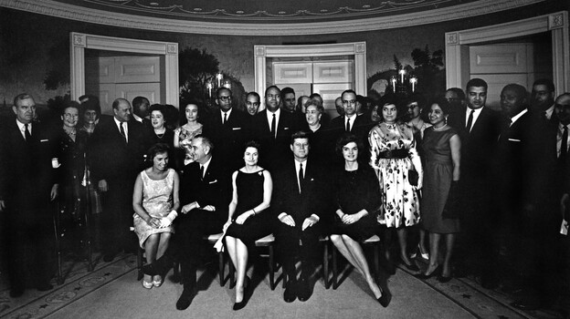 Guests at the party included Johnson Publishing magnate John Johnson and his wife, Eunice, and Whitney M. Young, head of the National Urban League. (Courtesy of JFK Presidential Library)