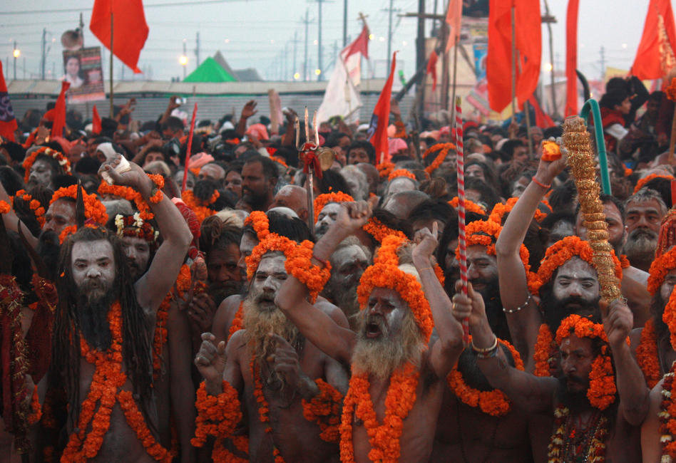 The Kumbh Mela is one of the rare times that sadhu nagas make themselves known. Many of these ascetics live in forests and villages, and have little contact with ordinary Indians. Their population is dwindling, as young devotees prefer not to pursue a life of deprivation. (for NPR)