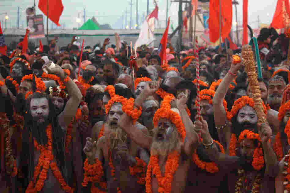 The Kumbh Mela is one of the rare times that sadhu nagas make themselves known. Many of these ascetics live in forests and villages, and have little contact with ordinary Indians. Their population is dwindling, as young devotees prefer not to pursue a life of deprivation.