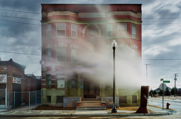 """An image from """"Detroit Disassembled,"""" an exhibit on display at the National Building Museum. (Andrew Moore, The Aurora, Brush Park neighborhood, 2008)"""