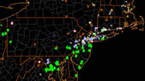 This map shows data reported by users of the mPING app during Friday's blizzard in the Northeast.