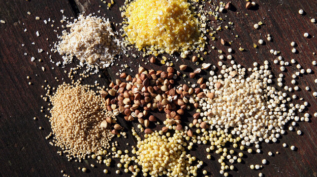 Grains well-suited for porridge include (clockwise from top) polenta, quinoa, millet, amaranth, oat bran and buckwheat.