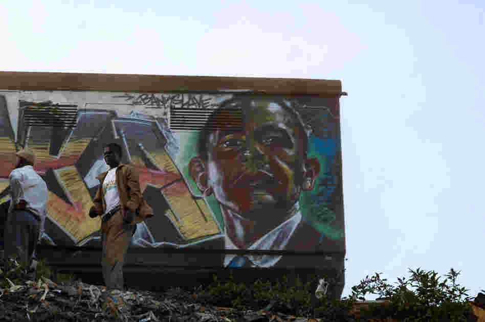 U.S. President Barack Obama as rendered by the artist Bankslave, who was born and still lives in the Kibera slum. During the previous election violence, looters spared his house when they recognized him as