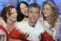 Models pose with Wax George Clooney in Berlin in 2008.