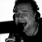 "Dave Gahan of Depeche Mode, performing live in studio for the band's latest single, ""Heaven."""