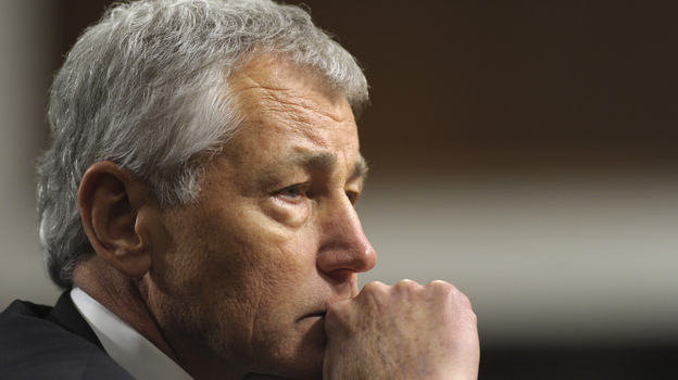 Chuck Hagel, President Obama's nominee for defense secretary, testifies before the Senate Armed Services Committee during his confirmation hearing on Jan. 31. (AP)
