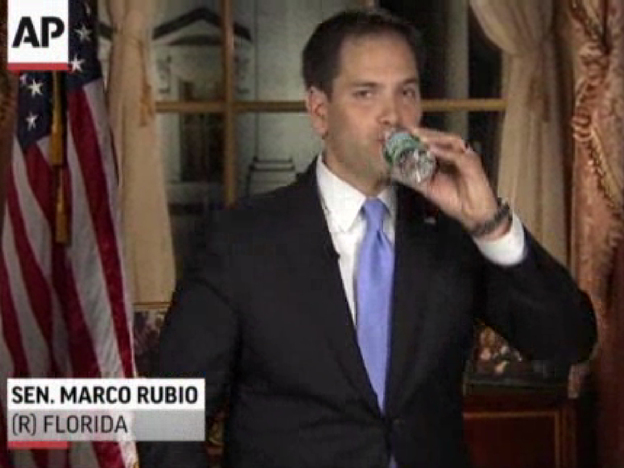 In this frame grab from video, Florida Sen. Marco Rubio takes a sip of water during his Republican response to President Obama's State of the Union address on Tuesday.