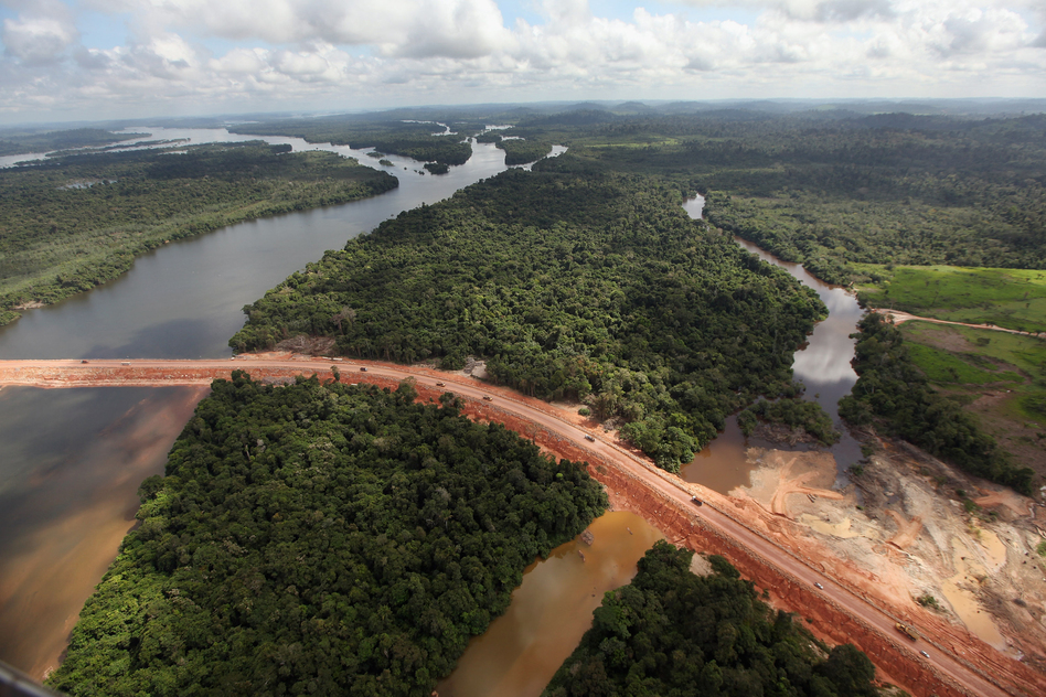 Construction continues at the Belo Monte dam complex in the Amazon basin in June 2012 near Altamira, Brazil. Belo Monte will be the world's third-largest hydroelectric project, and will displace up to 20,000 people living near the Xingu River.